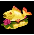 Goldfish and water Lily on a black background vector image vector image