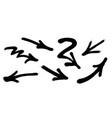 graffiti arrows set with overspray in black over vector image vector image