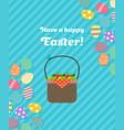 happy easter blue greeting card vector image vector image