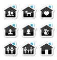 Home family icons set vector image vector image