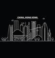 hong kong silhouette skyline china - hong kong vector image vector image