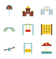 kindergarten playground icons set flat style vector image vector image