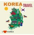 Korean Culture Symbols Map Travel Poster vector image