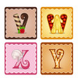 letters vwxy candies vector image vector image