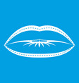 lips with lines drawn around it icon white vector image vector image
