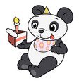 little panda eating birthday cake 2 vector image vector image