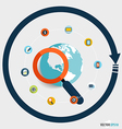Magnifying glass and globe with application icons vector image vector image