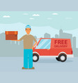 man postal delivery courier man in front of cargo vector image