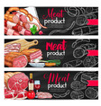 meat sausage chalk sketch banner for bbq design vector image vector image