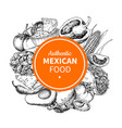 mexican food sketch label in frame traditional vector image vector image