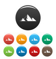 mountain peak icons set color vector image vector image
