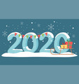 new year 2020 greeting card snow sled gifts and vector image vector image