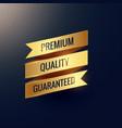 premium quality guaranteed golden ribbon design vector image vector image
