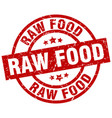 raw food round red grunge stamp vector image vector image