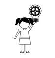 school girl bulb gear vector image vector image
