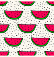 seamless pattern with handdrawn watermelon vector image
