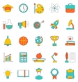 Set Flat Line Colorful Icons of School Equipment vector image