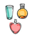 set glass flasks magic potions set of vector image