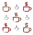 Set of hand-drawn coffee cup icons brush drawing vector image vector image
