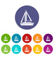 small boat set icons vector image vector image