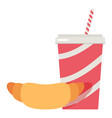 soda cup and croissant icon flat style vector image vector image
