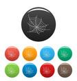 spooky spiderweb icons set color vector image vector image
