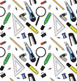 Stationery tools pattern vector image vector image