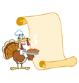 Turkey Chef With Pie And Scroll vector image vector image