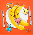 two funny bananas with emoji faces in love vector image vector image