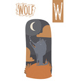 vertical of wolf with colorful night background vector image