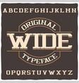 vintage label typeface named wide vector image vector image