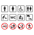 wc toilet sign set restroom icons and prohibited vector image vector image
