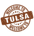 welcome to tulsa brown round vintage stamp vector image vector image