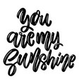 you are my sunshine lettering phrase on white vector image vector image