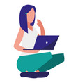 young woman sitting with laptop vector image vector image