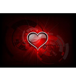 heart on the red tech background vector image