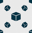 3d cube icon sign Seamless pattern with geometric vector image vector image