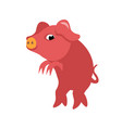 A funny pink pig stealthily walking