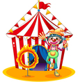 A ring of fire and a clown in front of a circus vector image vector image