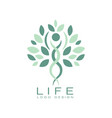 abstract life logo design with green leaves and vector image