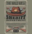 american wild west sheriff hat gun vector image vector image