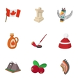 attractions canada icons set cartoon style vector image vector image
