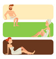 bath people body washing face cards bath taking vector image vector image