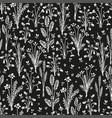 botanica dark - seamless monochrome pattern vector image