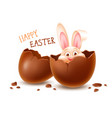 broken easter chocolate egg with cheerful easter vector image vector image