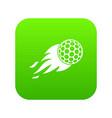 burning golf ball icon digital green vector image vector image