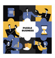 business people in a blue puzzle collage vector image vector image
