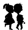 Cartoon boy and girl silhouettes kissing vector image