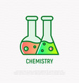 chemistry thin line icon two beakers with liquid vector image