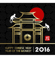 Chinese new year 2016 monkey temple traditional vector image